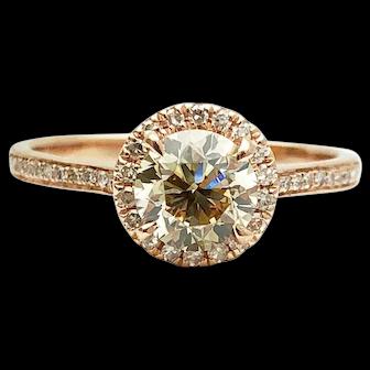GIA 14k Rose Gold Diamond Engagement Ring 1.10TCW