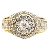 10k Diamond Cluster Engagement Ring 1.11TCW