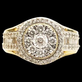 10k Diamond Cluster Engagement Ring 1.11TCW