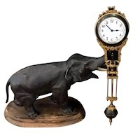 Antique Junghans Pendulum Clock Circa 1915, with Bronze Elephant