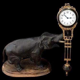 Antique Junghans Pendulum Clock Circa 1915, with Bronze Elephant