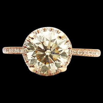 14k Rose Gold 1.50 SI-1 GIA Diamond Engagement Ring 1.68TCW