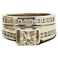 Palladium and Diamond Engagement Wedding Ring Set 1.72TCW