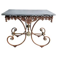 Antique French Pastry Table with Cast Iron Base. Circa 1850 Paris.