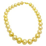 Large South Sea Cultured Pearl Strand 14mm-18.30mm w/ appraisal