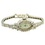 $6700 14k White Gold and 1.13TCW Diamond Hamilton Watch w/appraisal