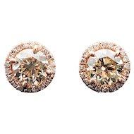 $3800 14k Rose Gold GIA Diamond Earrings 1.13TCW