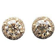 $5200 14k Yellow Gold GIA Diamond Earrings 1.55TCW