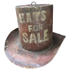 "Antique Metalwork Hat Advertising Sign ""Hats For Sale"""