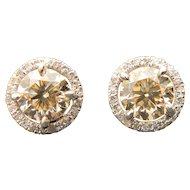 14k White Gold GIA VS Diamond Earrings 1.36TCW