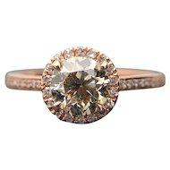 GIA 14k Rose Gold Diamond Engagement Ring 1.10TCW $7000 Retail