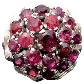 14k White Gold Ruby Cluster Ring 3.02TCW