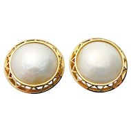 14k Yellow Gold Cultured 20.00mm Mabe Pearl Earrings