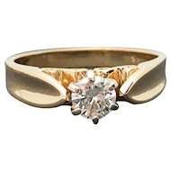 14k Yellow Gold SI-2 0.30ct Diamond Solitaire Engagement Ring