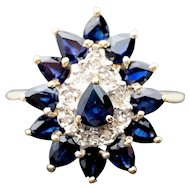 14k Yellow Gold Blue Sapphire and Diamond Ring 2.93TCW