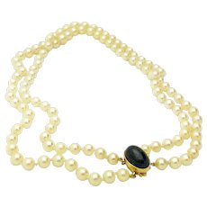 14k Yellow Gold Double Pearl Strand and Lapis Necklace