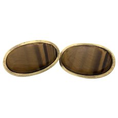 14k Yellow Gold Large Tigers Eye Earrings $3725 Retail