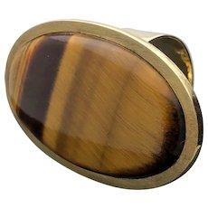 14k Yellow Gold Large Tiger's Eye Ring