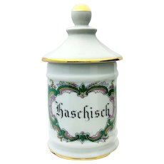 Vintage Limoges French Porcelain Large Apothecary Jar Haschisch