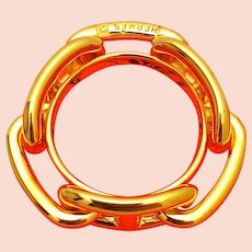 Hermes Chaine D'anchre Gold Tone Scarf Ring w/orig box