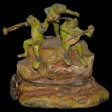 antique metal cast money box * 3 frogs on stone playing instruments * hand-painted German at 1900