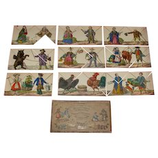 rare Biedermeier period metamorphosis game with figurative scenes * around 1850-1860