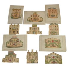 6 hand-painted buildings do a jigsaw puzzle * manufactory A. Thomaron Paris 1850