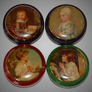 4 small shop miniature tins with child motives * metal litho * France at 1900