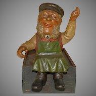 Dwarf gnome coachman sitting * Otto child Kotthausen at 1900