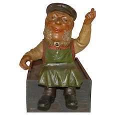 Dwarf gnome coachman sitting * Otto child Kotthausen at 1900