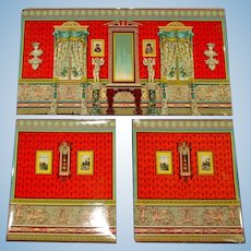 rare doll houses scenery wallpaper * drawing-room * 3 part Chromo lithography at 1880