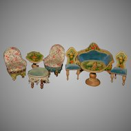 rare Dollhouse Salon Seating furniture with figural representations * 8 parts * at 1880/1890