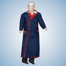 Dollhouse doll * Man in dressing gown & beard * Original clothing * Germany around 1880