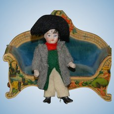 rare little dollhouse porcelain doll * Napoleon in original clothes * Height 3 inch * at 1890