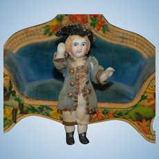 rare little dollhouse porcelain doll in courtly original clothing * Height 2.4 inch * around 1890