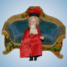 rare small dollhouse porcelain doll lady in original clothes * height 3 inch * German around 1890