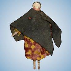 Biedermeier Grödnertal wooden doll girl * movable wooden body - orig. Clothes * around 1840/1850