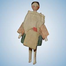 Biedermeier Grödnertal wooden doll * movable wooden body - orig. Clothes * around 1840/1850