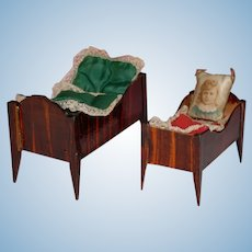 2 antique dollhouse beds from the late Biedermeier period * german 1860/1880
