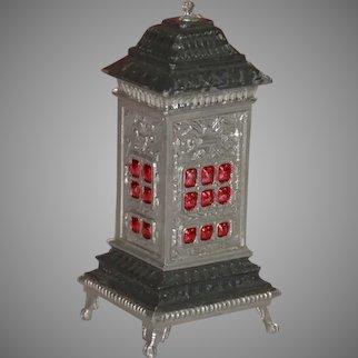 antique Biedermeier dollhouse pewter stove painted & glazed * German c. 1860/1880
