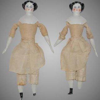 2 antique porcelain dollhouse dolls * German c. 1860/1860