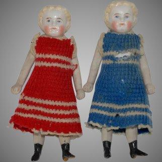 2 antique dollhouses Buisquit porcelain dolls * German c. 1860/1880