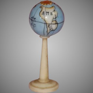 antique dollhouse GLOBE with porcelain earth globe * German c. 1860 * no. 1