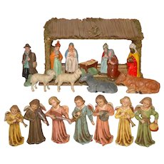 small nativity figures with paper mache figures and 8 musical angels * Germany at 1900