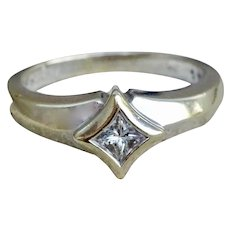 15 Point quadrillion diamond in 14K white gold ring