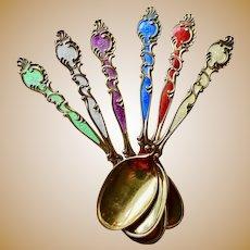 6 Norway enamel demitasse spoons sterling TH Marthinsen