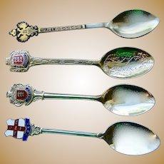 4 Souvenir spoons Toledo, York, Jersey, Guernsey