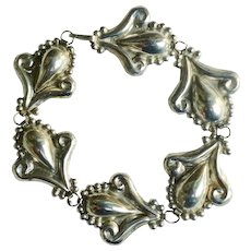 Sterling silver decorative stamped link bracelet with soldered flat back