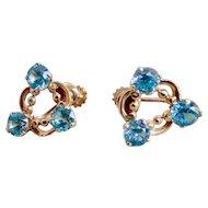 earrings with blue zircon 14K pink gold ESEMCO