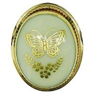 Vintage LENOX porcelain 14K GF butterfly pendant, brooch, pin
